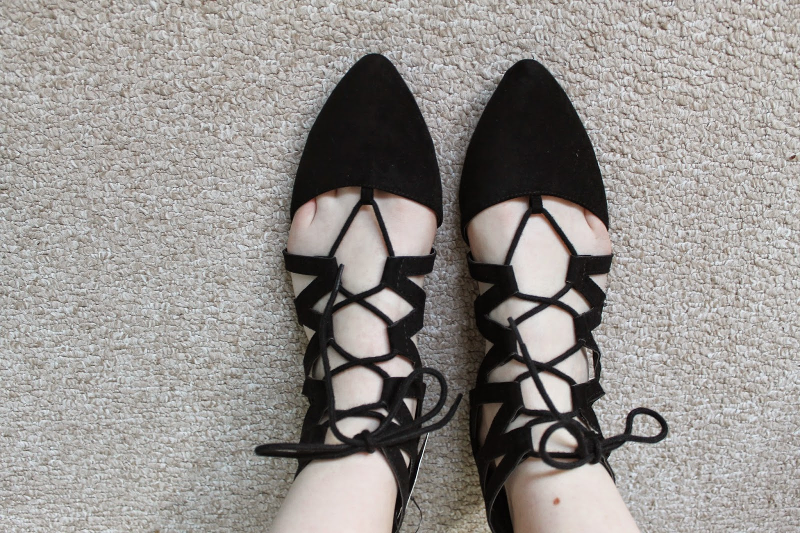 Primark Black Lace Up Gladiator Shoes