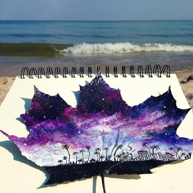 Artista usa folhas caídas como telas para criar lindos obras