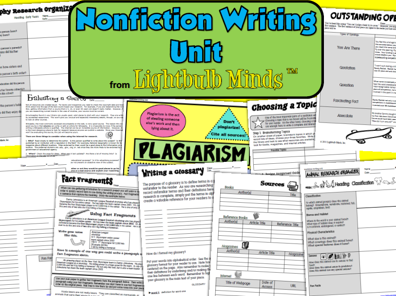 http://www.teacherspayteachers.com/Product/Nonfiction-Writing-Unit-from-Lightbulb-Minds-440903