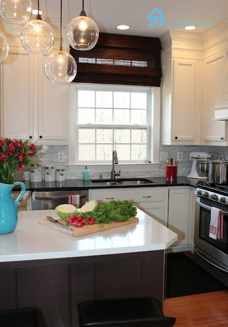 kitchen makeover with quartz countertops, BM Aura paint, LG appliances.