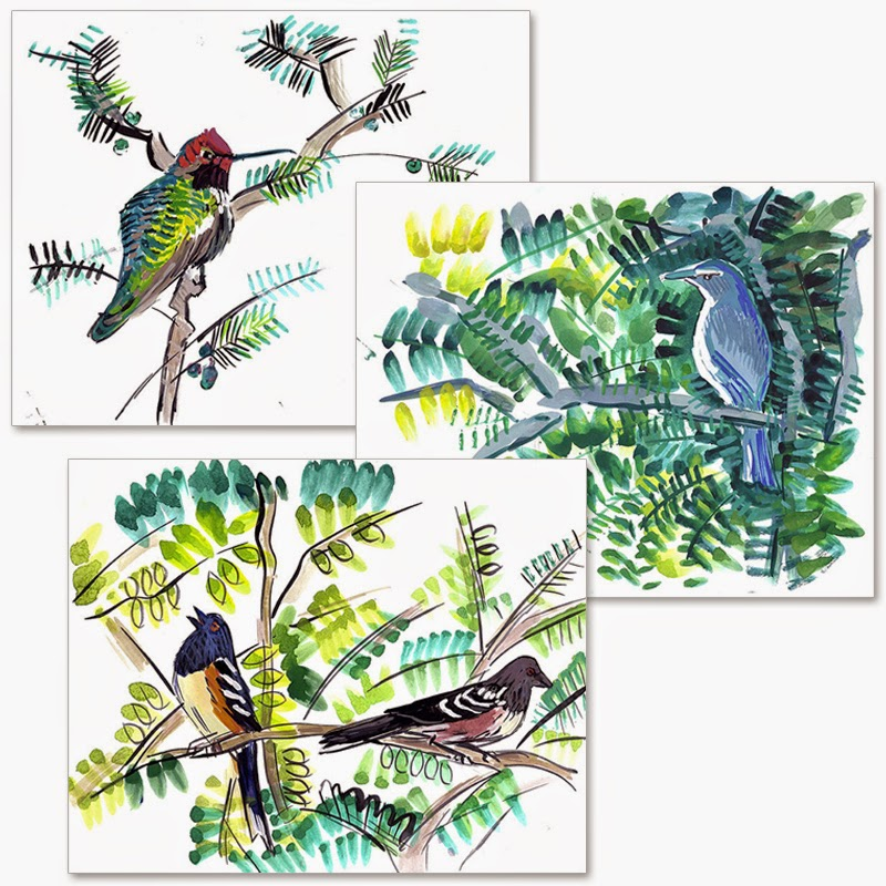 Birds 1 Set of 3 Prints by Char Fitzpatrick