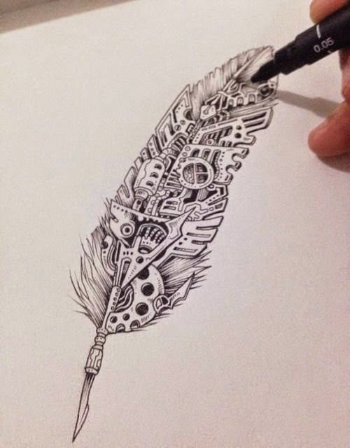 amazing-feather-zentangle-tattoo