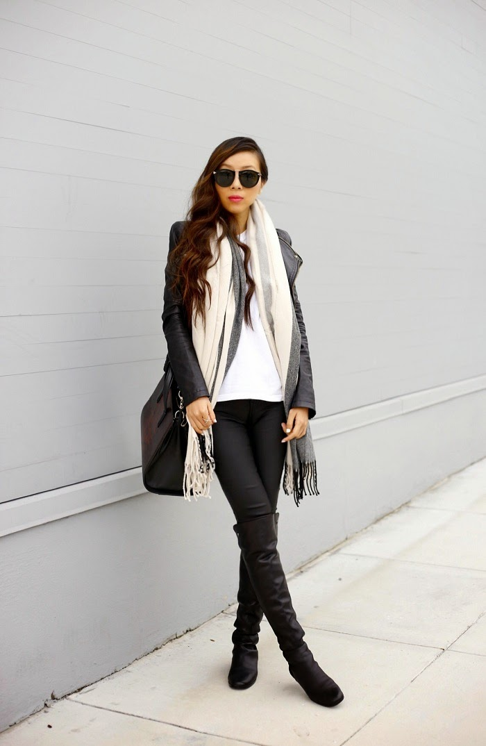 Asos oversized scarf with stripes, asos sale, karen walker harvest sunglasses, baublebar 360 pearl studs, baublebar crystal ring, curly hair, fashion blog, streetstyle, san francsico, shallwesasa, leather jacket, alexanderwang bag, joes jeans, vince camuto boots, 5050 boots, over the knee boots, monochromatic look, casual weekend, winter streetstyle, over the knee boots streetsyle
