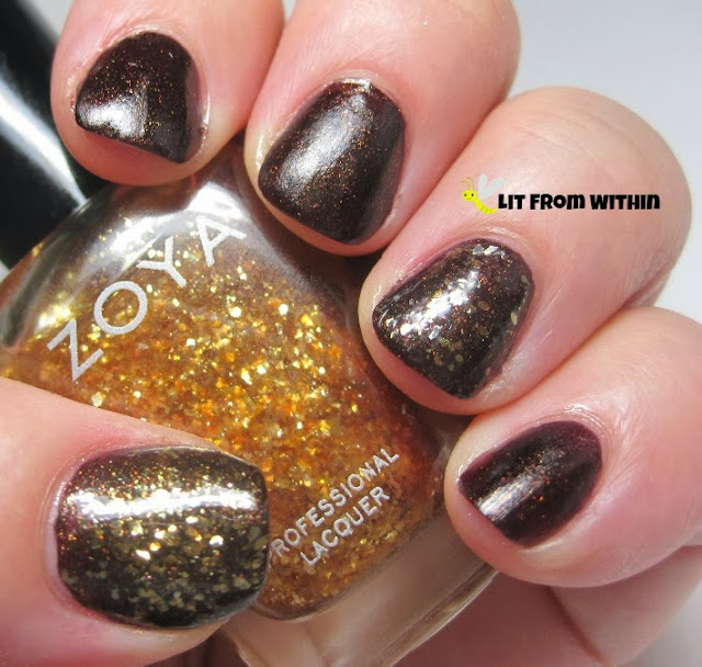 Zoya Maria Luisa.  It's a gold flakie - not a glitter