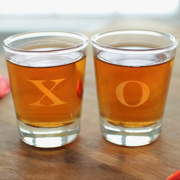 XOXO Shot Glasses - Custom Engrave a Monogram or Letter
