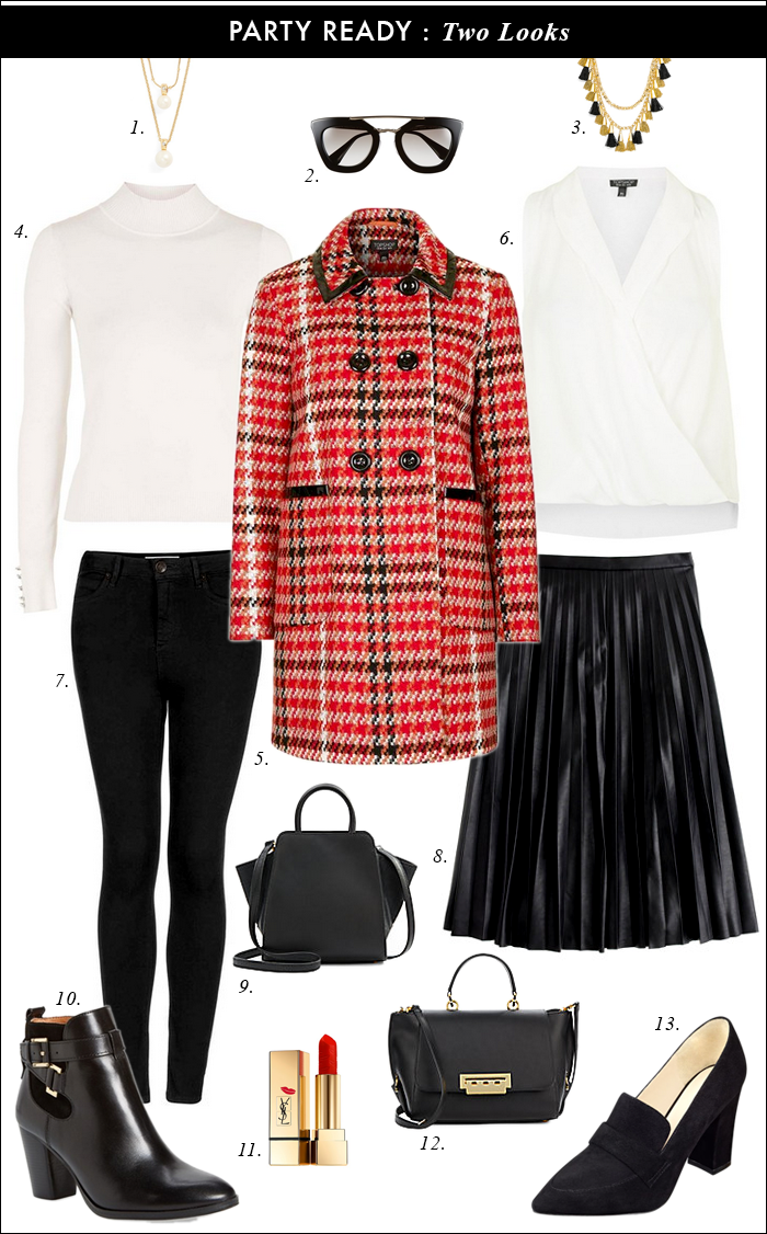red plaid coat, topshop, pleated midi skirt, faux leather, baublebar, prada sunglasses, christmas party, what to wear