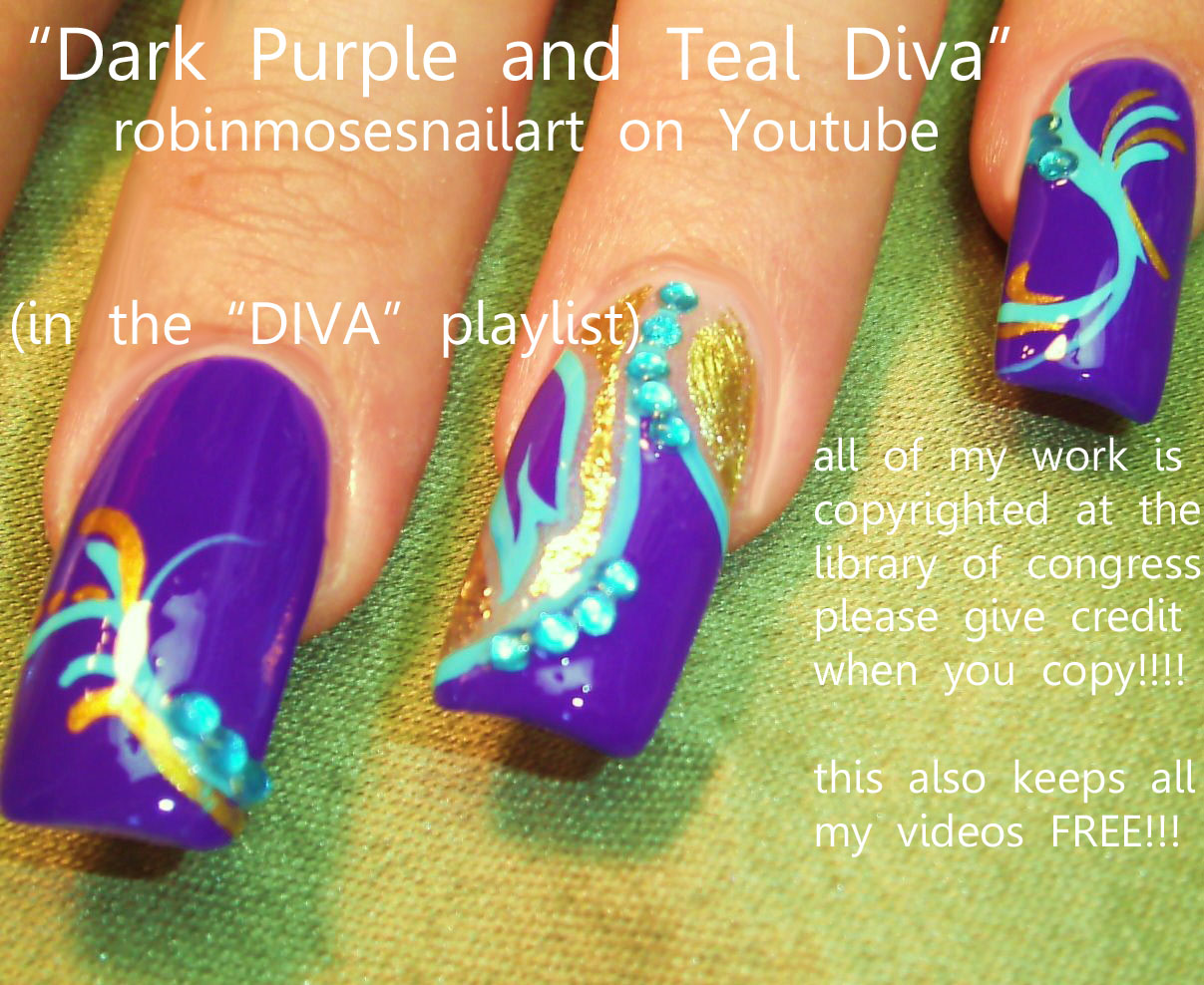 Nail Art Design: fuchsia nail art, dark purple nail art, 24k gold ...