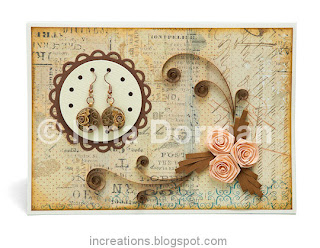Quilled greeting card with earrings