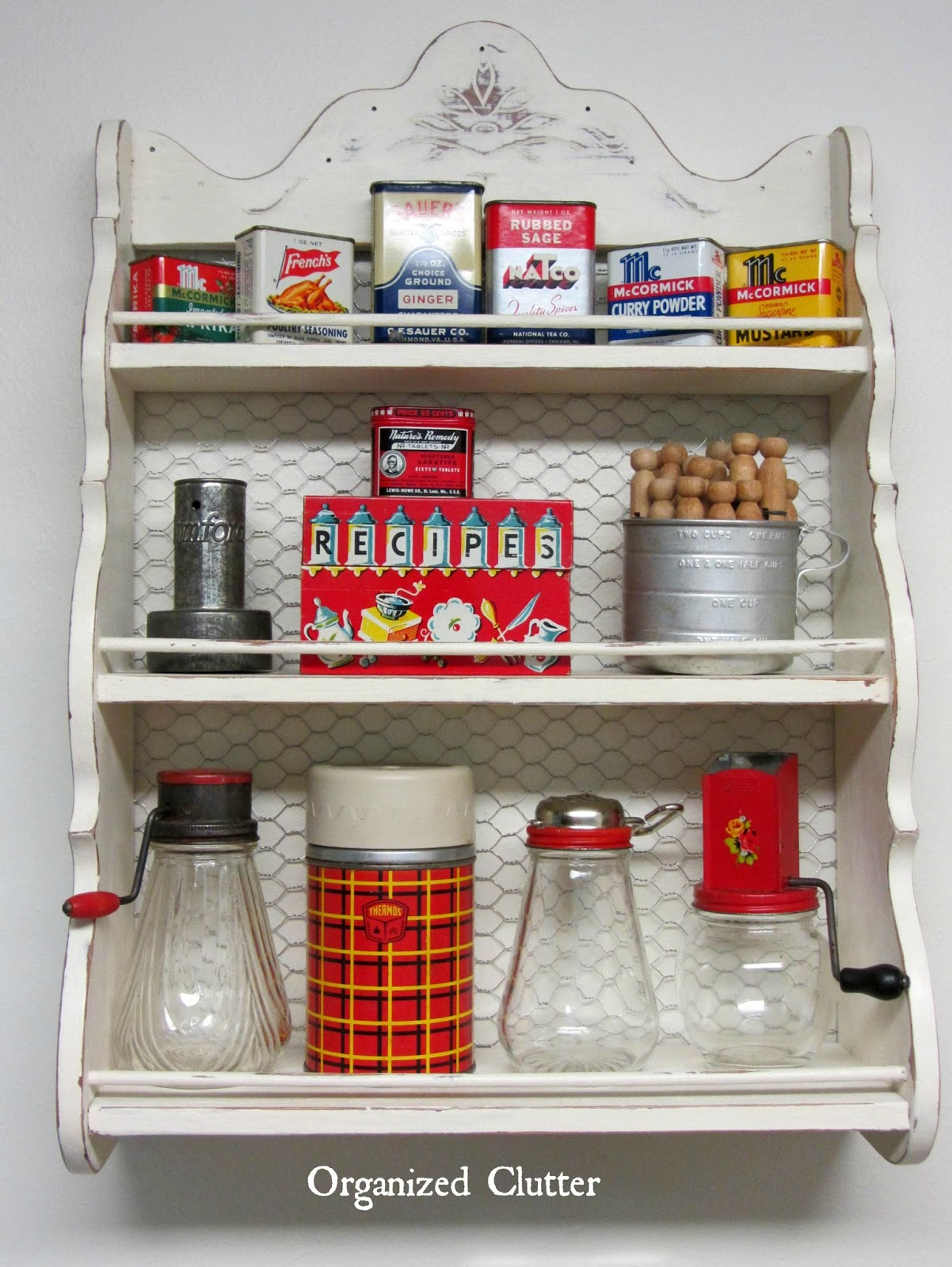 Vintage Painted Spice Rack with Chicken Wire Back www.organizedclutterqueen.blogspot.com