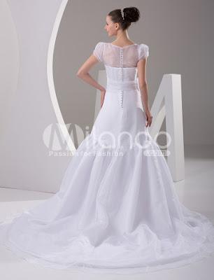 A-ligne Round White Collar satiné Robe de mariée luxueuse Longueur
