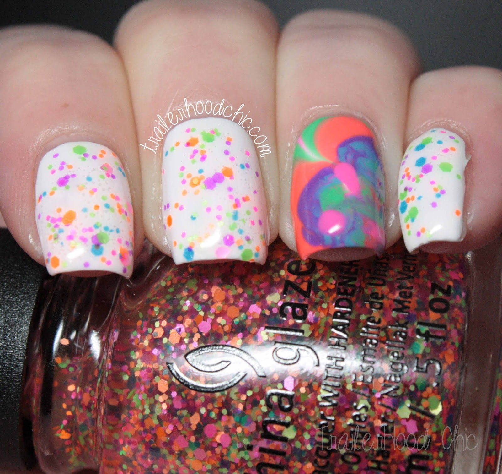 china glaze electric nights glitters neon watermarble point me to the party