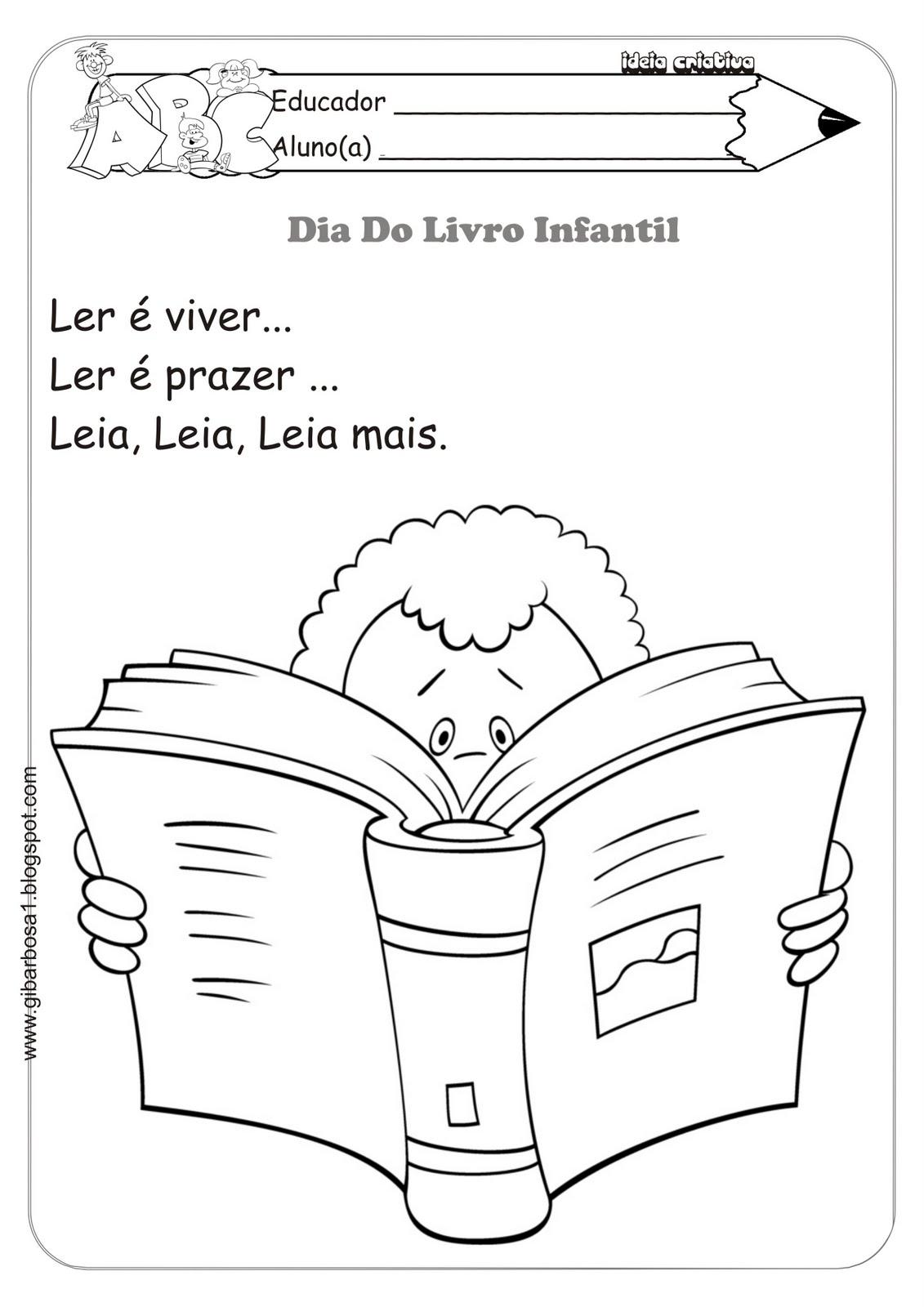 Atividades para Colorir ou Colagem Dia do Livro Infantil