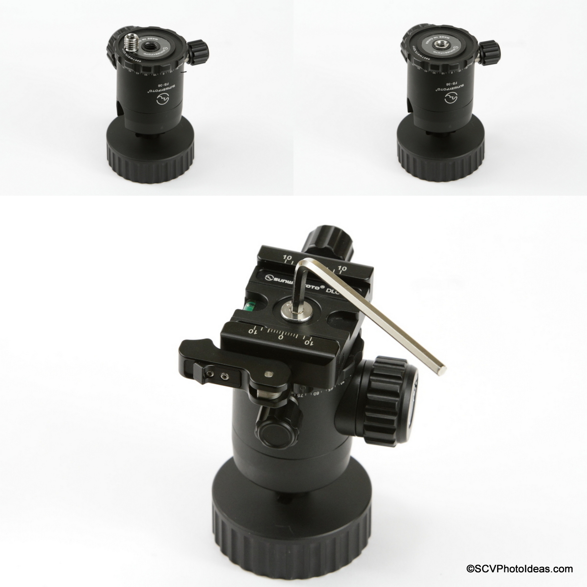"""Clamp attachment sequence via 3/8"""" to 1/4"""" bushing on Ball Head bottom"""