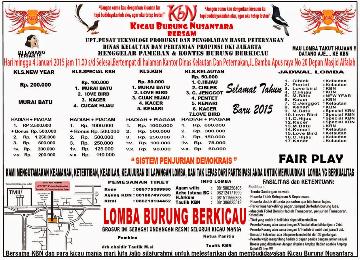Download Brosur Lomba Burung Januari 2015