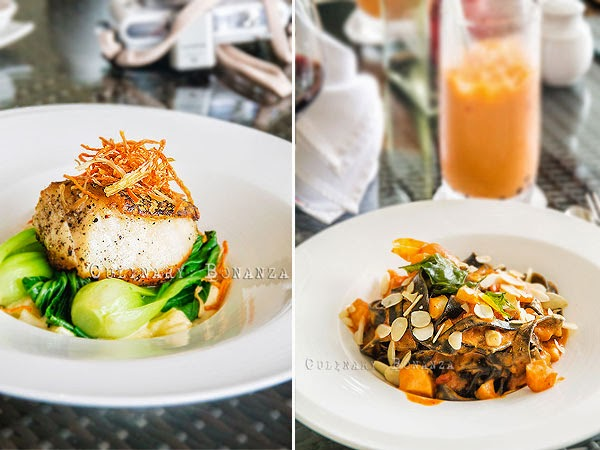 Pan Seared Sea Bass served on top of baby bokchoy and creamy clam chowder | Right: Squid Ink Fettuccine with seafood stew