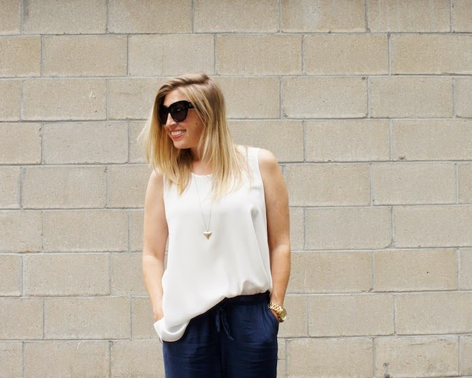 anne fontaine tank, abercrombie drapey olivia pants, boston fashion