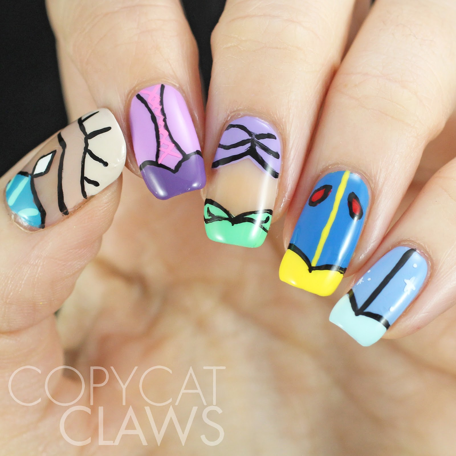 Copycat Claws Blue Color Block Nail Art: Copycat Claws: The Digit-al Dozen Does Fairy Tales: Day 2