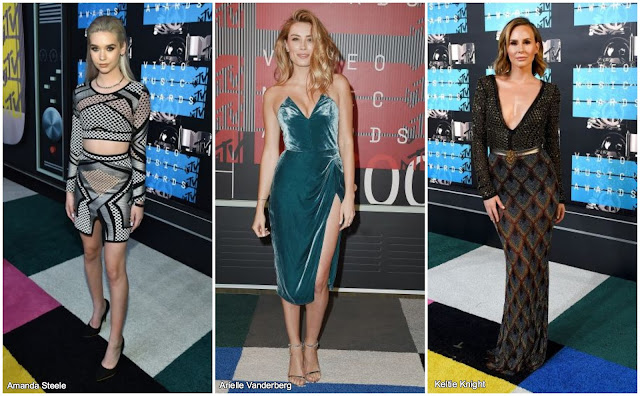 amanda steele arielle vanderberg keltie knight vma vmas miley cyrus 2015 fashion outfit red carpet best dressed worst