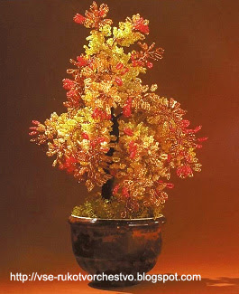 Дерево осенняя рябина из бисера. Мастер-класс