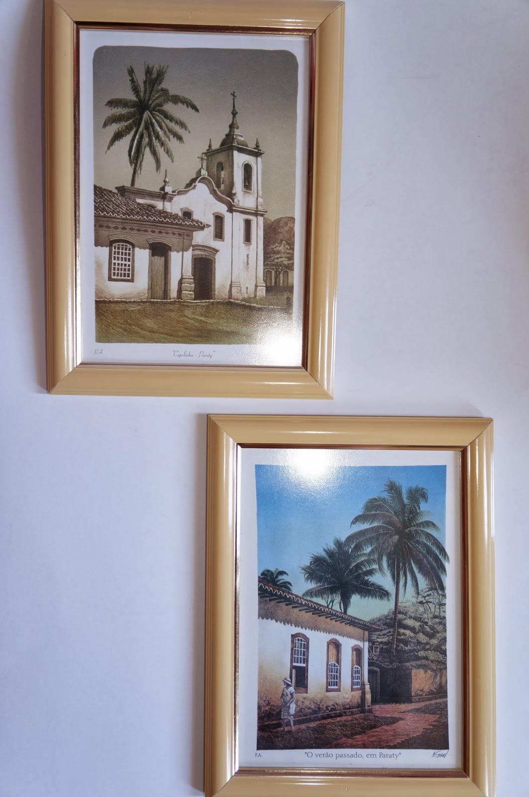 quadros com ilustrações da cidade de Paraty - RJ