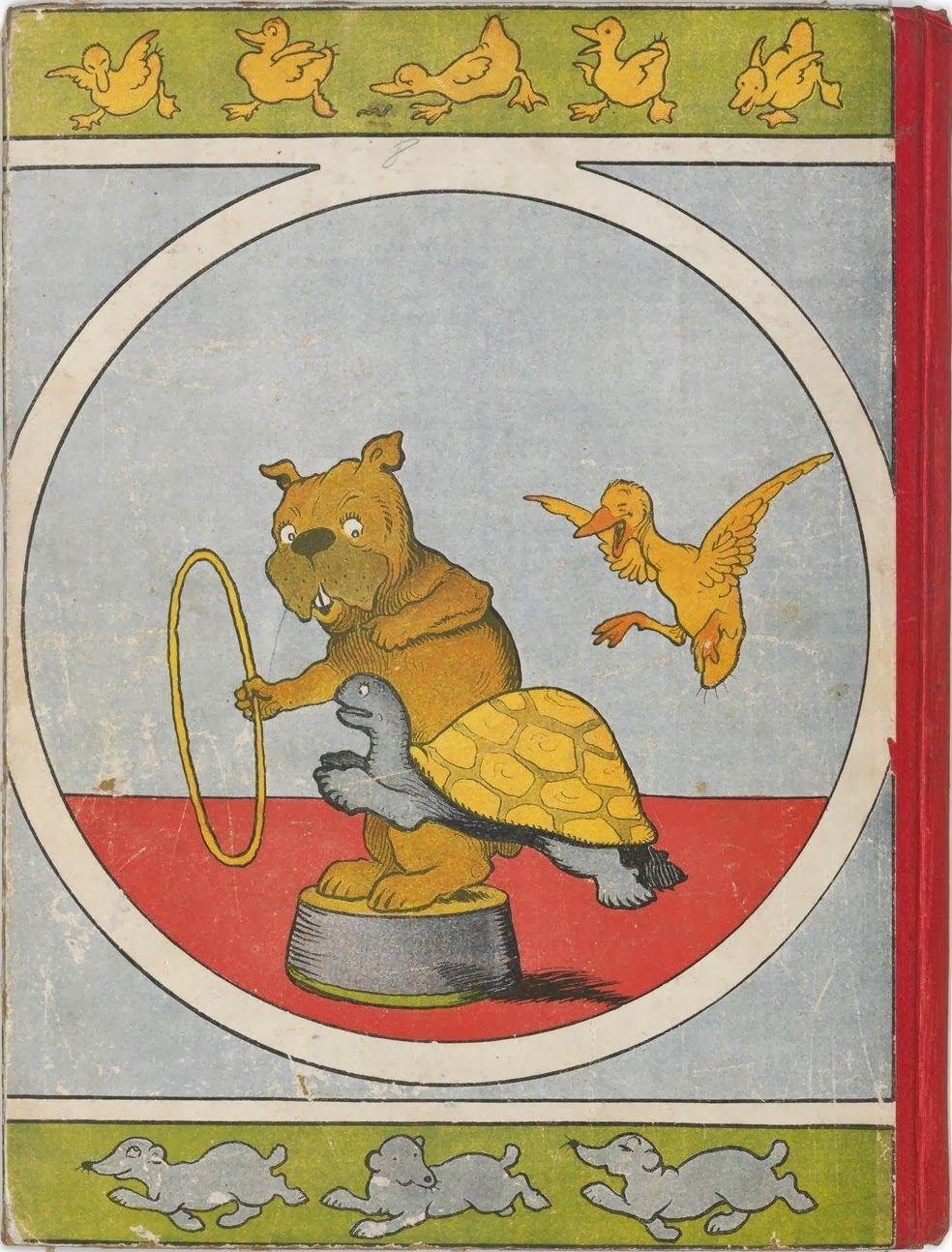 back cover colour picture of anthropomorphic dog, turtle and duck in a circus scene