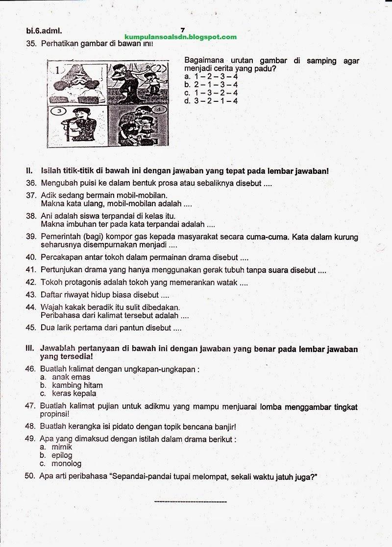 Soal Bahasa Indonesia Kelas 6 Ukk Sd Semester 2 Ta 2013 2014 Kumpulan Soal Sd