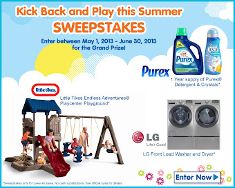 You could win! A Playground Set. 1 Year of Purex Det. &amp; Purex Crystals, &amp; a LG Washer &amp; Dryer