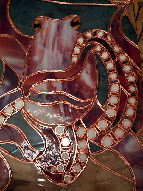 Stained glass octopus: all coppered up!