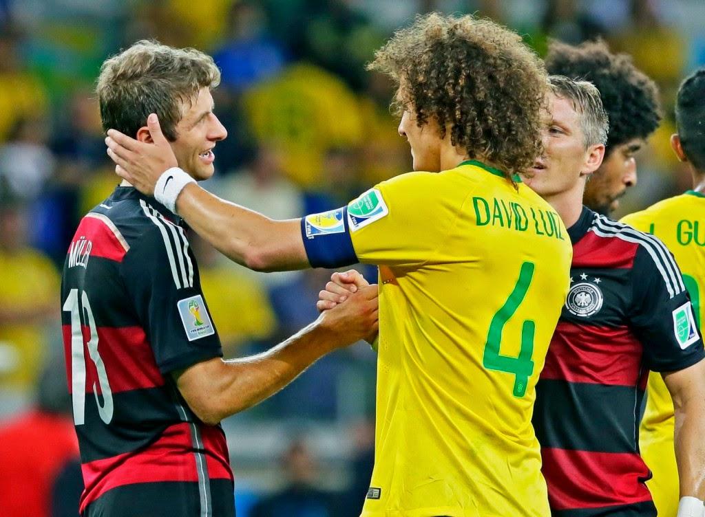 brazil foci-vb, brazíliai futball-világbajnokság, Brazília-Németország, sport, futball, David Luiz, Thomas Müller