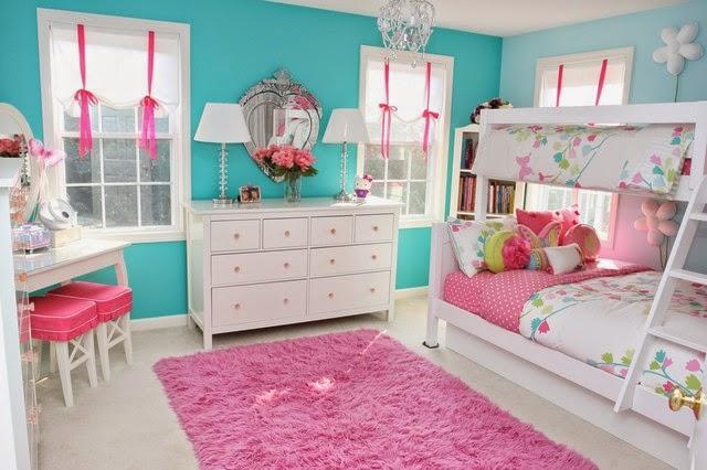 Paduan Warna Pink dan Biru Kamar Anak