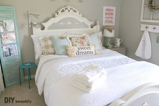 I completely transformed an empty room into a charming Guest Retreat. You've got to see this space now, all the details are at DIY beautify!