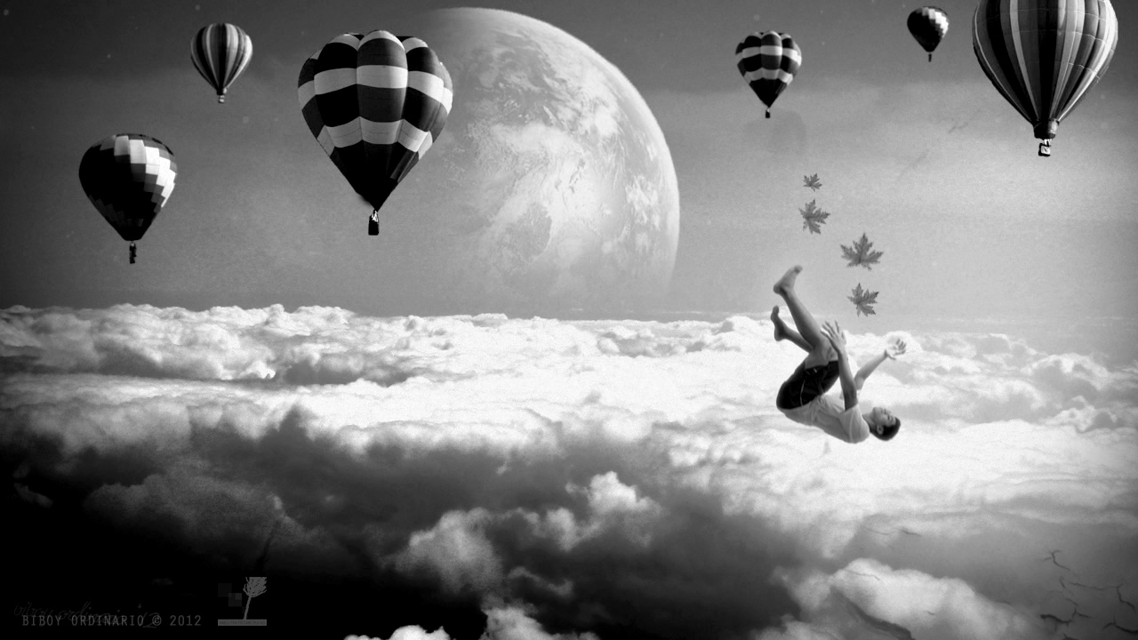 Falling in a dream surreal image