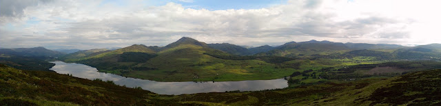 View from top of Ben Guilipen, looking north towards Loch Venachar and Ben Ledi.