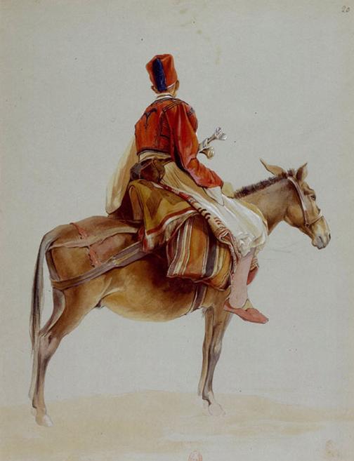 Soldat Albanais sur sa mule