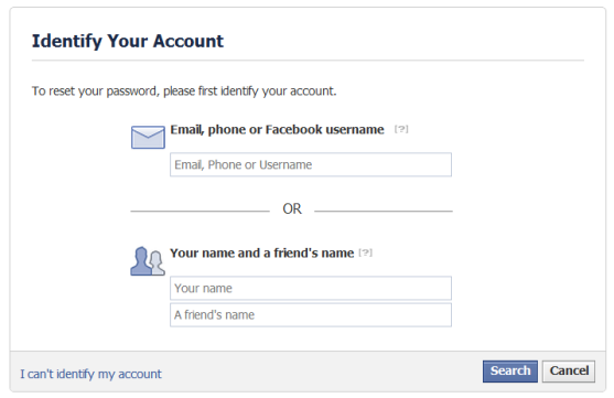 identify account details on facebook