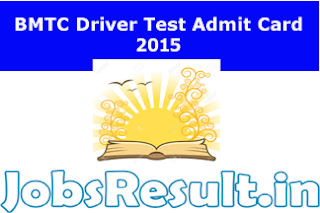BMTC Driver Test Admit Card 2015