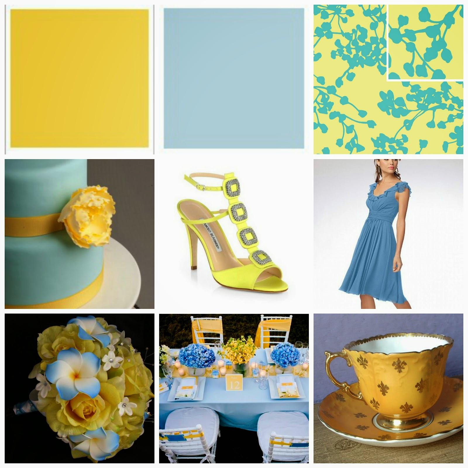 image yellow blue mood board cake shoes dress fabric flowers yellow cream starlight blue pantone
