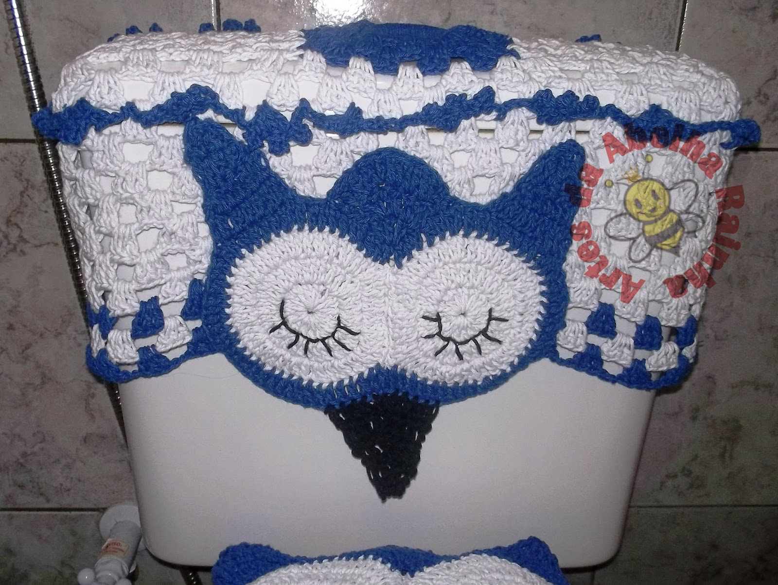 da Abelha Rainha: Jogo de Banheiro Corujas Dorminhocas(Branco e Azul #223B6E 1600x1205 Banheiro Branco E Azul