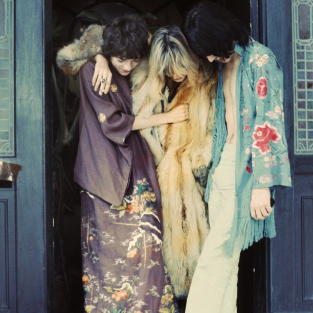 Vintage friends Michelle Breton, Anita Pallenberg and Mick Jagger in Performance,1968