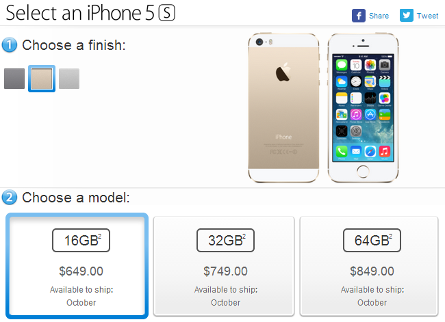 Unlocked iPhone 5s price