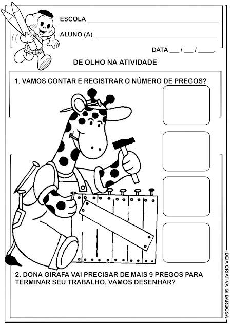 Atividade Educação Infantil Matemática Animais