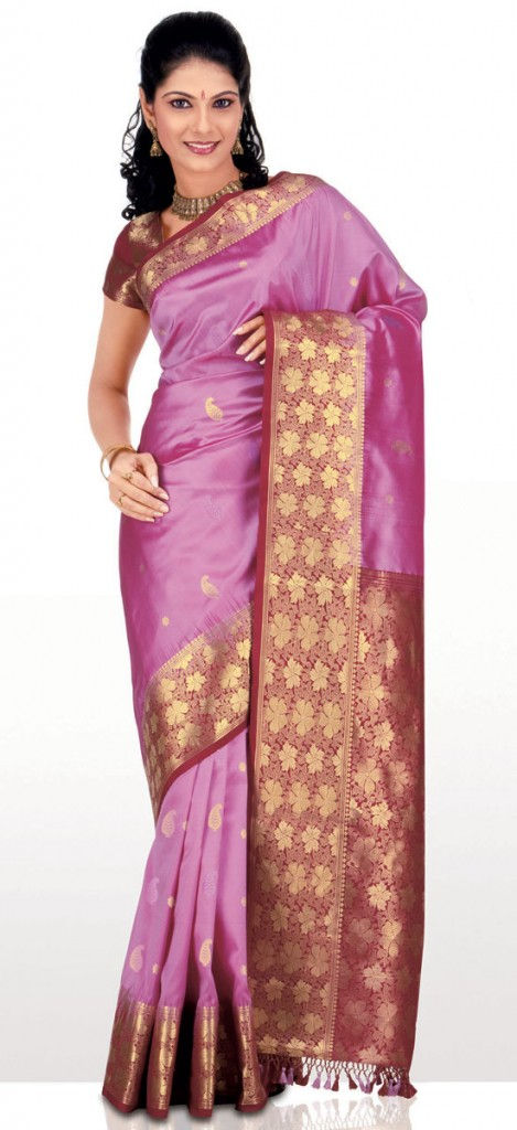 Rose pink silk saree indian silk sarees collection