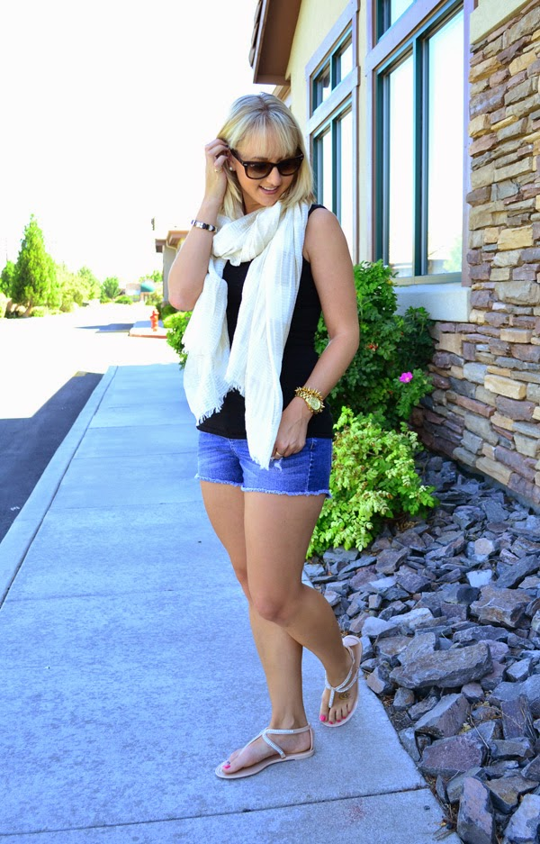 metallic scarf, black tank top, jean shorts, ray-ban sunglasses