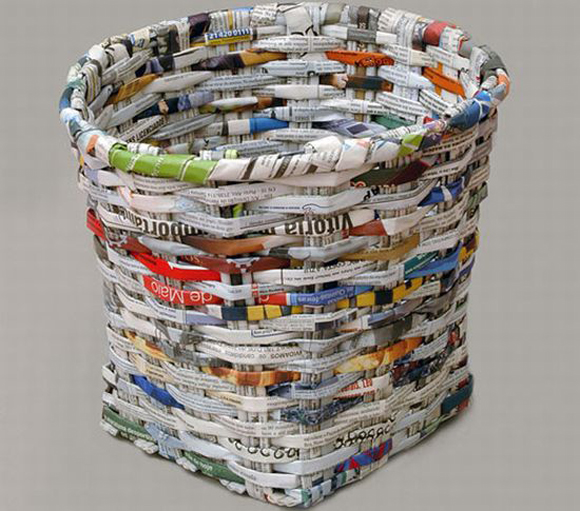 Blographic design art made from recycled newspaper for Waste to useful crafts