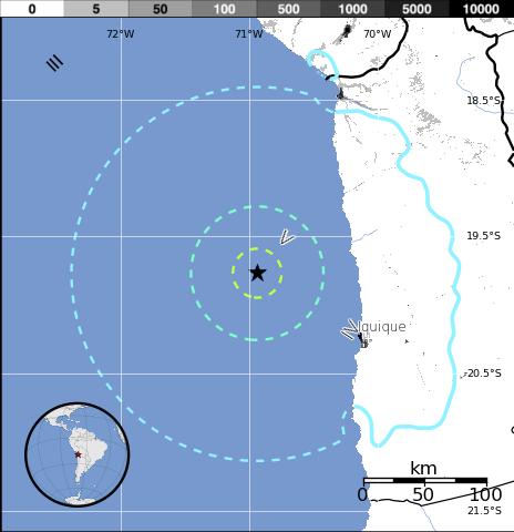 Epicentro sismo 6,2 grados Chile, 22 de Marzo 2014