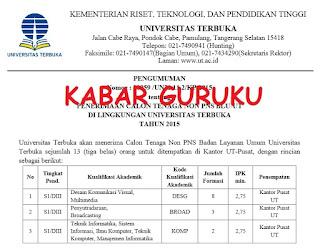 Lowongan Tenagan Non-PNS Universitas Terbuka Pusat