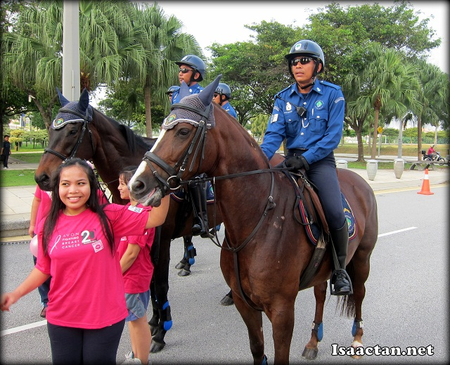 Police on horses to keep the peace