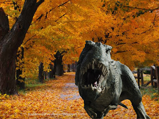 Dinosaurs Free Wallpapers Tiranausaurus Rex T Rex in Autumn Trees background