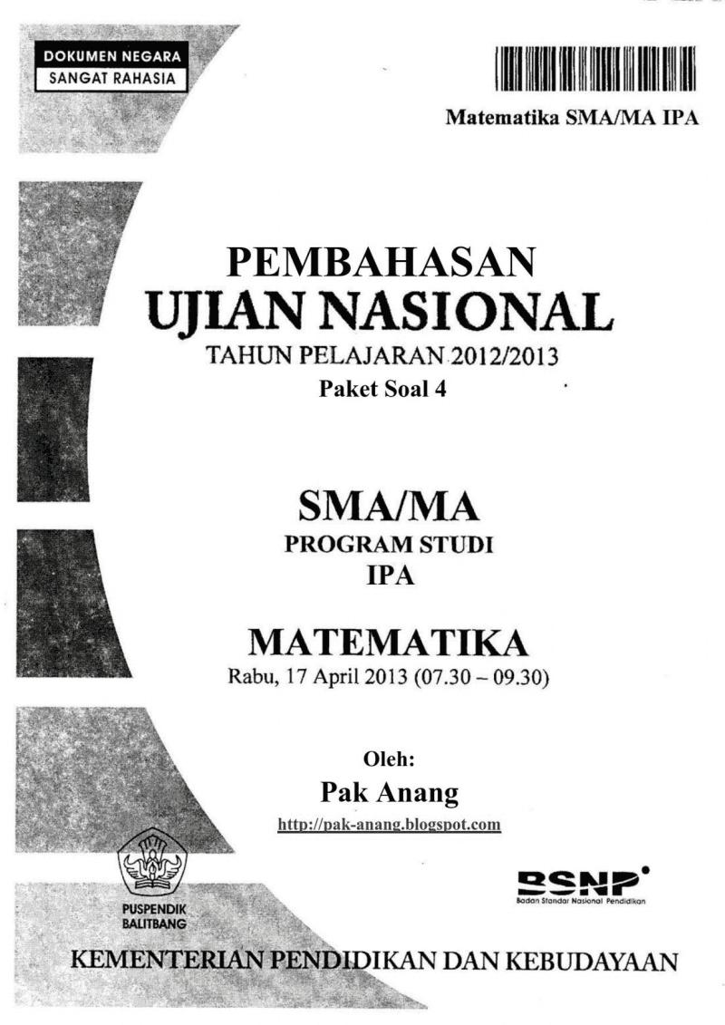 Pembahasan Soal Un Matematika Programme Ipa Sma 2013 (Trik Superkilat) (Paket 4)
