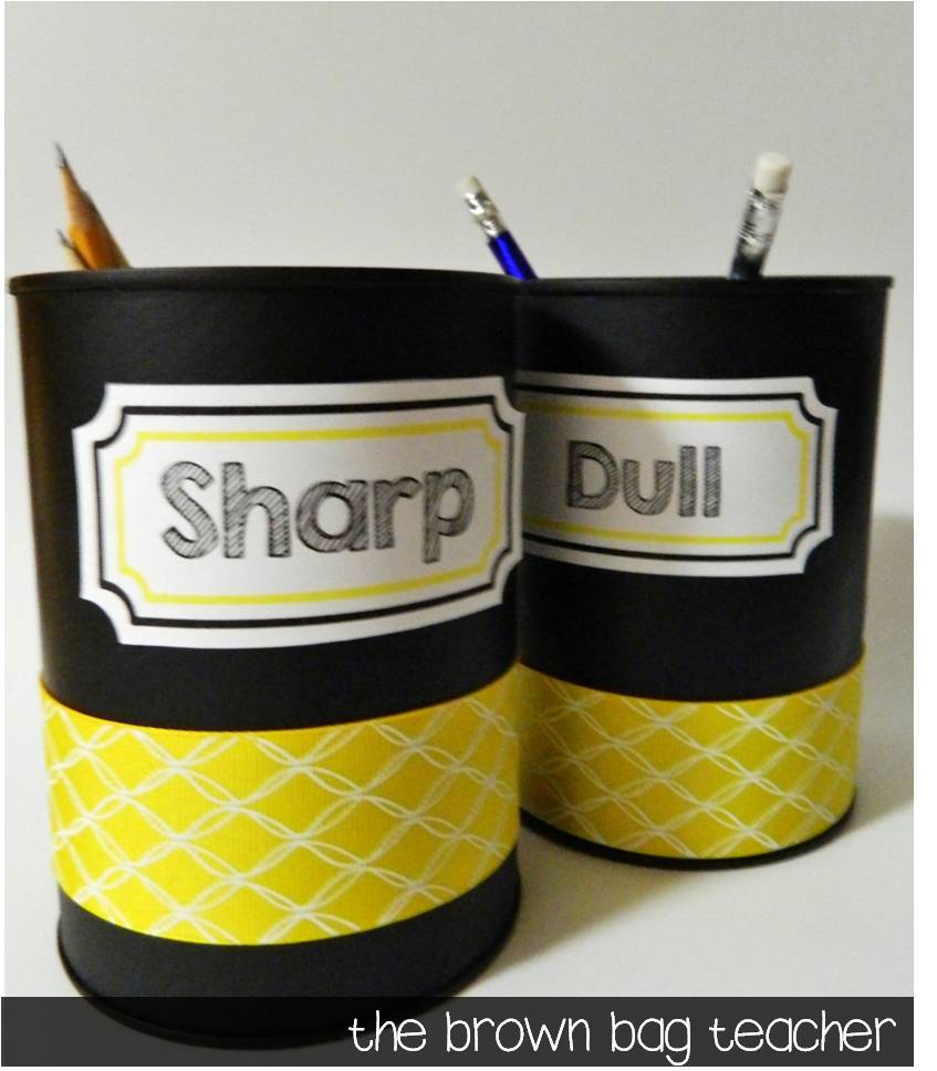 Classroom Organization: Coffee Cans & Picture Frames - The Brown Bag ...